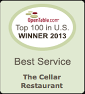 OpenTable.com Top 100 in U.S. Winner 2013 for Best Service