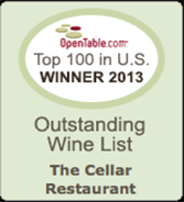 OpenTable.com Top 100 in U.S. Winner 2013 for Outstanding Wine List