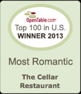 OpenTable Winner, Top 100 Most Romantic in the US